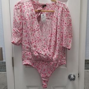 Floral baby pink  thong bodysuit blouse with tie